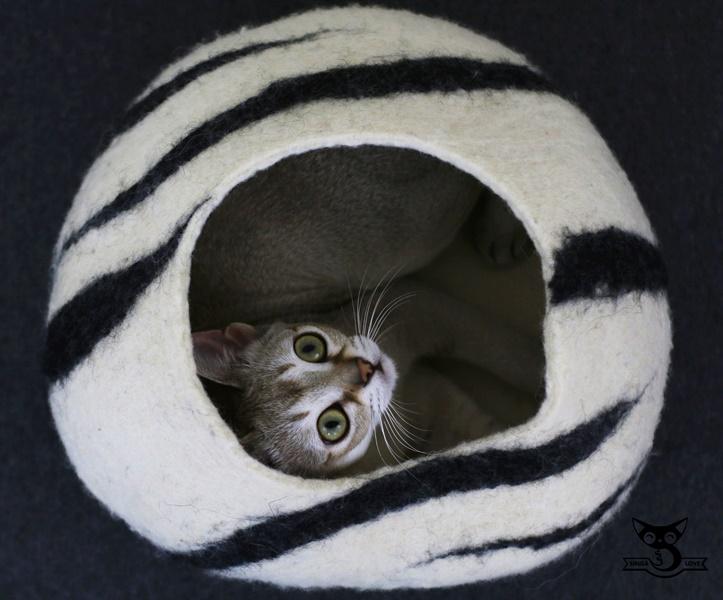 naturalny domek dla kota z wełny SingaLove