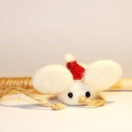Świąteczna wędka myszka zabawka dla kota z walerianą i kocimiętką